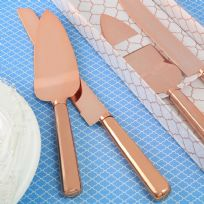 Simple Classic Rose Gold Cake Knife & Server Set
